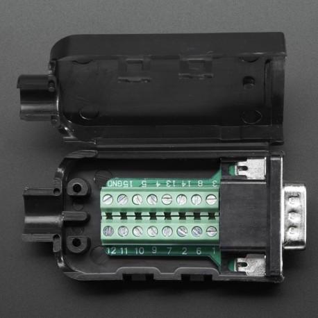 DE-15 (DB-15) Male Plug to Terminal Block Breakout