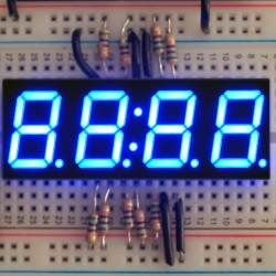 Blue 7-segment clock display