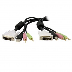 10ft 4-in-1 USB Dual Link DVI-D KVM Switch Cable w/ Audio & Microphone