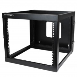 8U 22in Depth Hinged Open Frame Wall Mount Server Rack