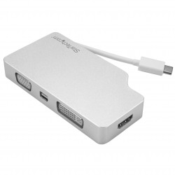 Aluminum Travel A/V Adapter: 4-in-1 USB-C to VGA, DVI, HDMI or mDP - 4K