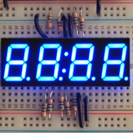 Blue 7-segment clock display