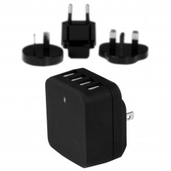 4-Port USB Wall Charger - International Travel - 34W/6.8A - Black